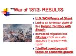 war of 1812 results