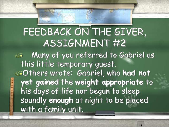 feedback on the giver assignment 2 n.