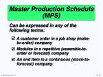 master production schedule mps2