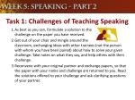 task 1 challenges of teaching speaking