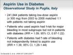 aspirin use in diabetes observational study in puglia italy