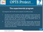 the experimental program
