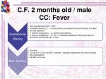 c f 2 months old male cc fever