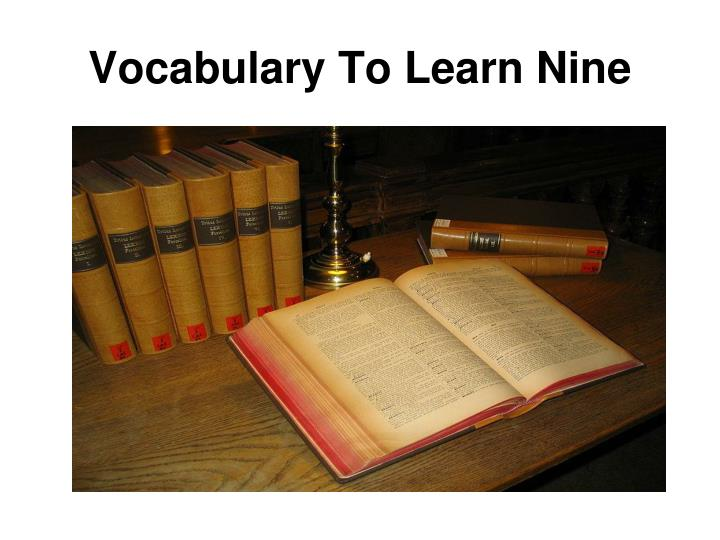 vocabulary to learn nine n.