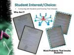 student interest choice