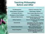 teaching philosophy before and after