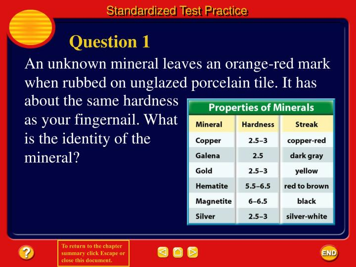 An unknown mineral leaves an orange-red mark when rubbed on unglazed porcelain tile. It has