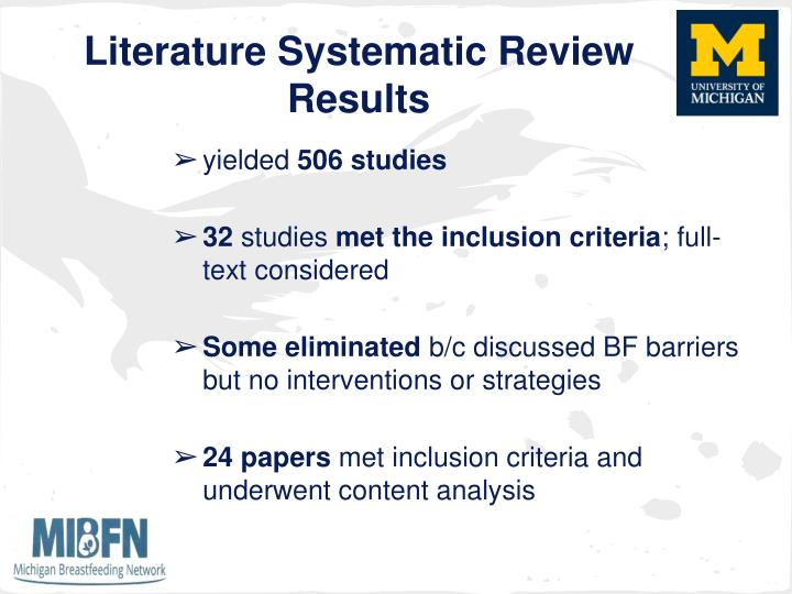 Literature Systematic Review Results