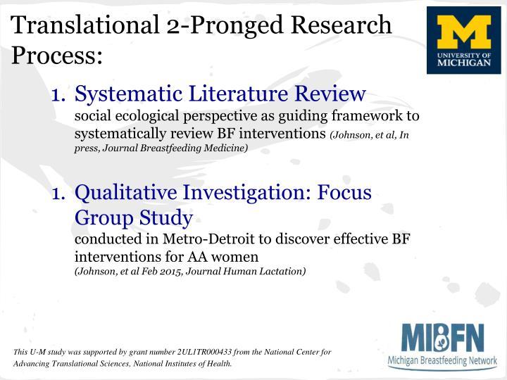 Translational 2-Pronged Research Process: