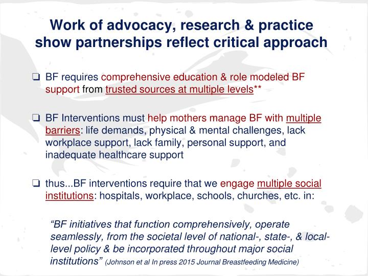 Work of advocacy, research & practice show partnerships reflect critical approach
