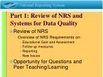part 1 review of nrs and systems for data quality