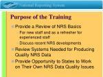 purpose of the training