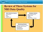 review of three systems for nrs data quality