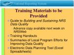 training materials to be provided