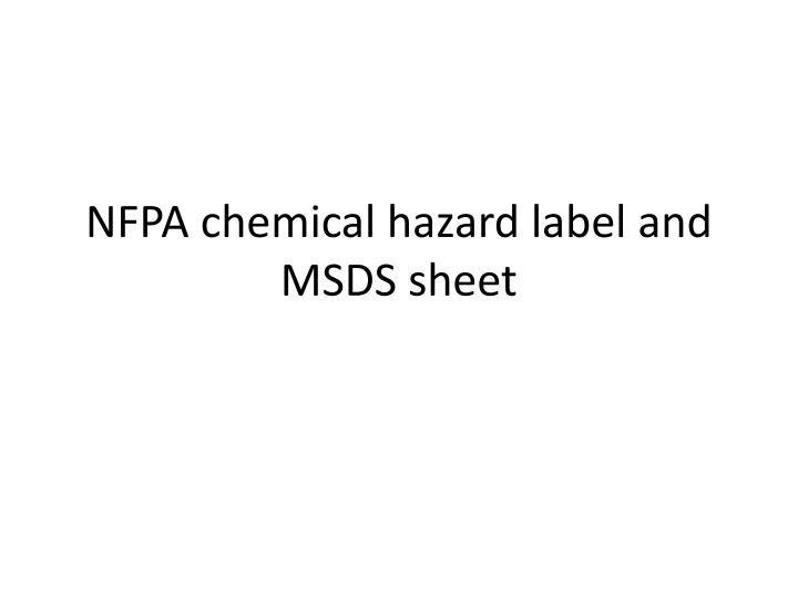 nfpa chemical hazard label and msds sheet n.