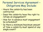 personal services agreement obligations may include
