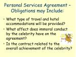 personal services agreement obligations may include1