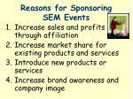 reasons for sponsoring sem events