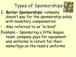 types of sponsorships