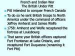 french and indian war the british under pitt