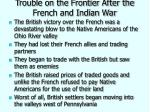 trouble on the frontier after the french and indian war
