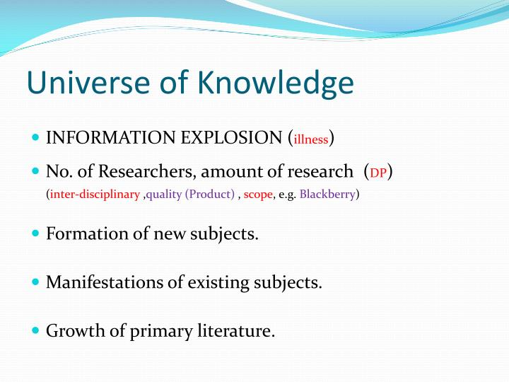 universe of knowledge n.