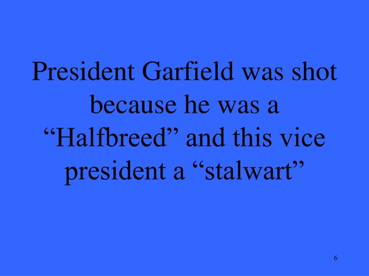"President Garfield was shot because he was a ""Halfbreed"" and this vice president a ""stalwart"""