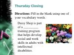 thursday closing