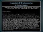 annotated bibliography kristine maher