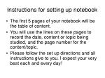 instructions for setting up notebook