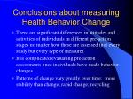 conclusions about measuring health behavior change