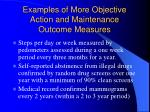 examples of more objective action and maintenance outcome measures