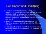self report and restaging
