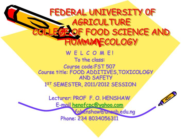 federal university 0f agriculture college of food science and human ecology n.
