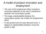 a model of product innovation and employment1
