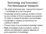 technology and innovation the neoclassical viewpoint1