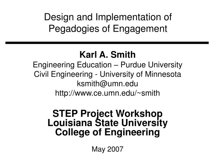 design and implementation of pegadogies of engagement n.
