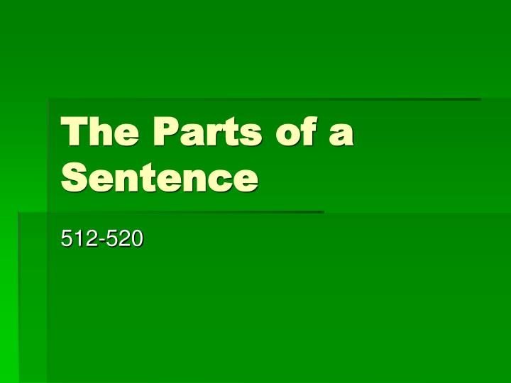 the parts of a sentence n.