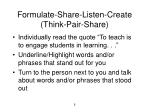 formulate share listen create think pair share