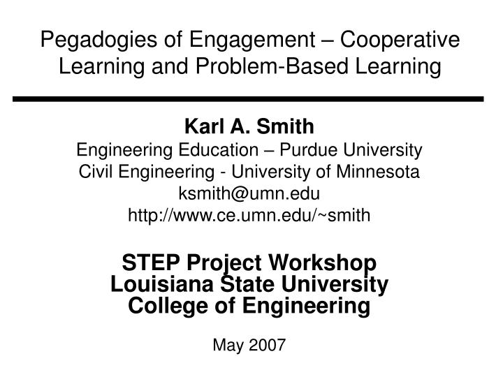 pegadogies of engagement cooperative learning and problem based learning n.