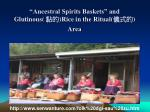 ancestral spirits baskets and glutinous rice in the ritual area