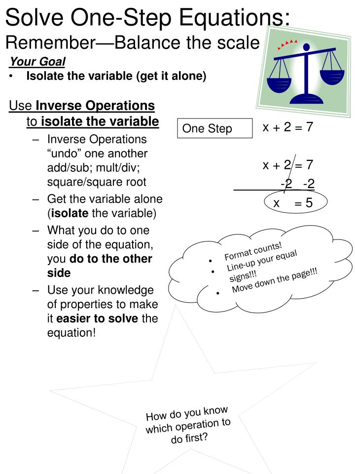 solve one step equations remember balance the scale n.