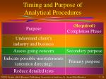 timing and purpose of analytical procedures2