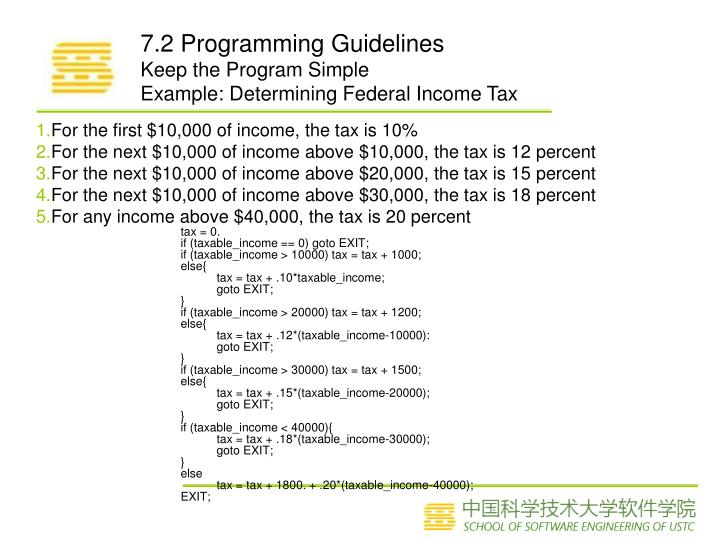 For the first $10,000 of income, the tax is 10%