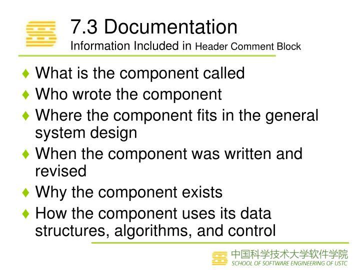 7.3 Documentation