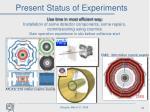 present status of experiments