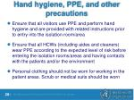 hand hygiene ppe and other precautions