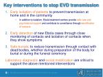 key interventions to stop evd transmission