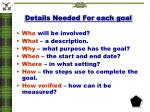 details needed for each goal