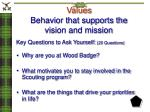 values behavior that supports the vision and mission